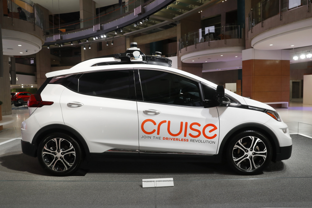Cruise AV, General Motor's autonomous electric Bolt EV, is displayed in Detroit in January 2019.
