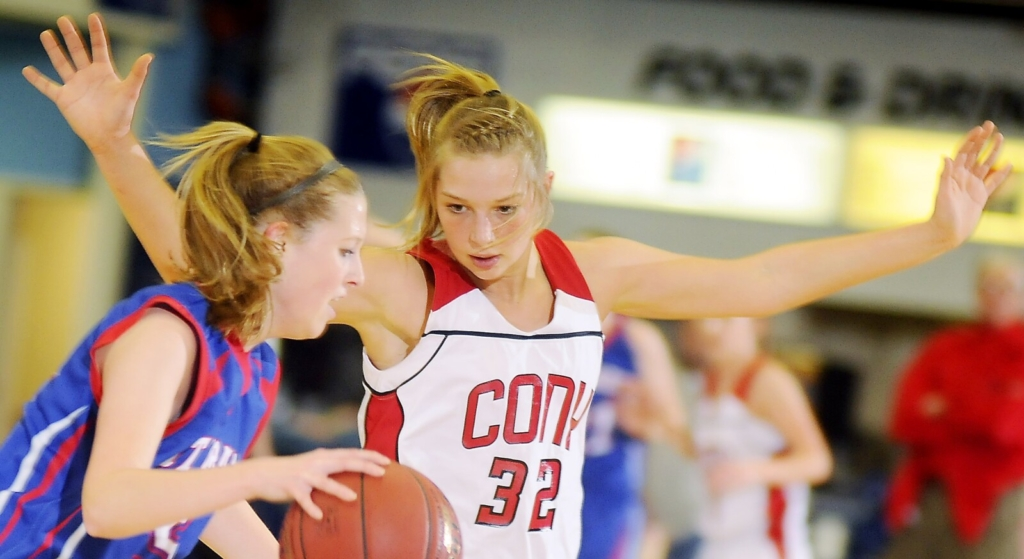Cony's Mia Diplock  defends during a 2012 game in Augusta.