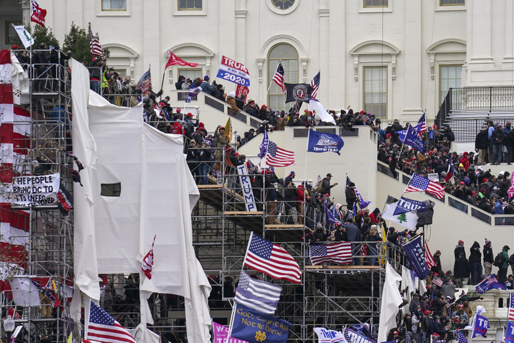Trump supporters gather outside the Capitol, Wednesday, Jan. 6, in Washington.