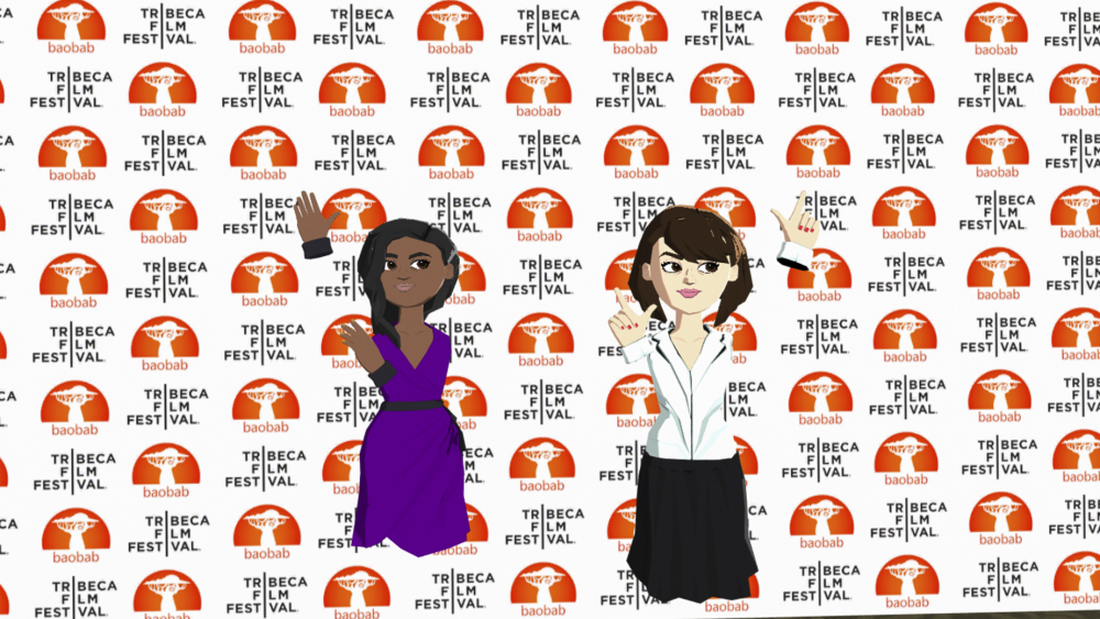 "Avatars representing Jennifer Hudson, left, and Daisy Ridley at the VR premiere of their short film ""Baba Yaga."""