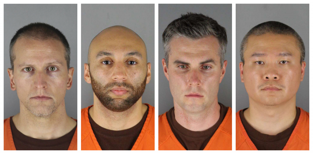 Fom left, former Minneapolis police officers Derek Chauvin, J. Alexander Kueng, Thomas Lane and Tou Thao. Chauvin, who held his knee to the neck of George Floyd for several minutes, will be tried separately from the other three.