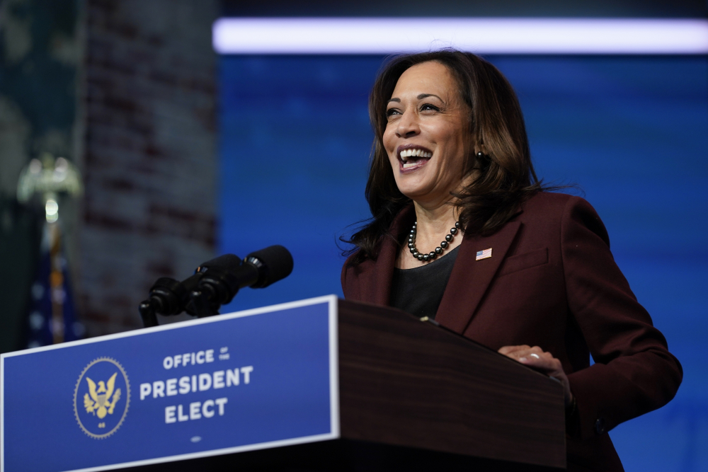 Vice President-elect Kamala Harris speaks Nov. 24  at The Queen theater in Wilmington, Del.