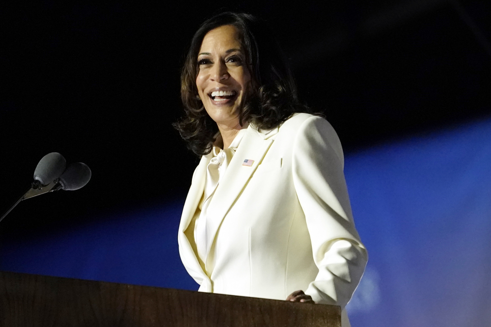 Vice President-elect Kamala Harris speaks in Wilmington, Del. on Nov. 7, 2020. Harris will make history Wednesday when she becomes the nation's first Black, South Asian and female vice president.