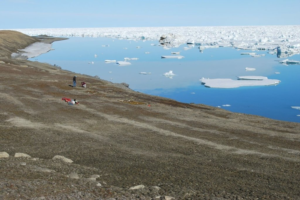 Panorama of Floeberg Beach north, taken from the south facing east. Archaeologists investigate a Peary-related site at Cape Sheridan, Ellesmere Island, Canada.