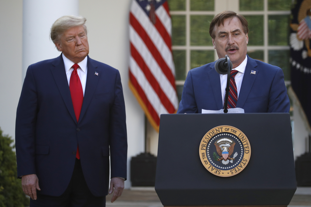 My Pillow CEO Mike Lindell speaks during a coronavirus briefing on March 30, 2020, in the Rose Garden of the White House. Lindell, an avid supporter of President Trump, who has continued to push the notion of election fraud since Trump lost to Joe Biden in the presidential election, said his products will no longer be carried in the stores of some retailers, including Bed Bath & Beyond and Kohl's.