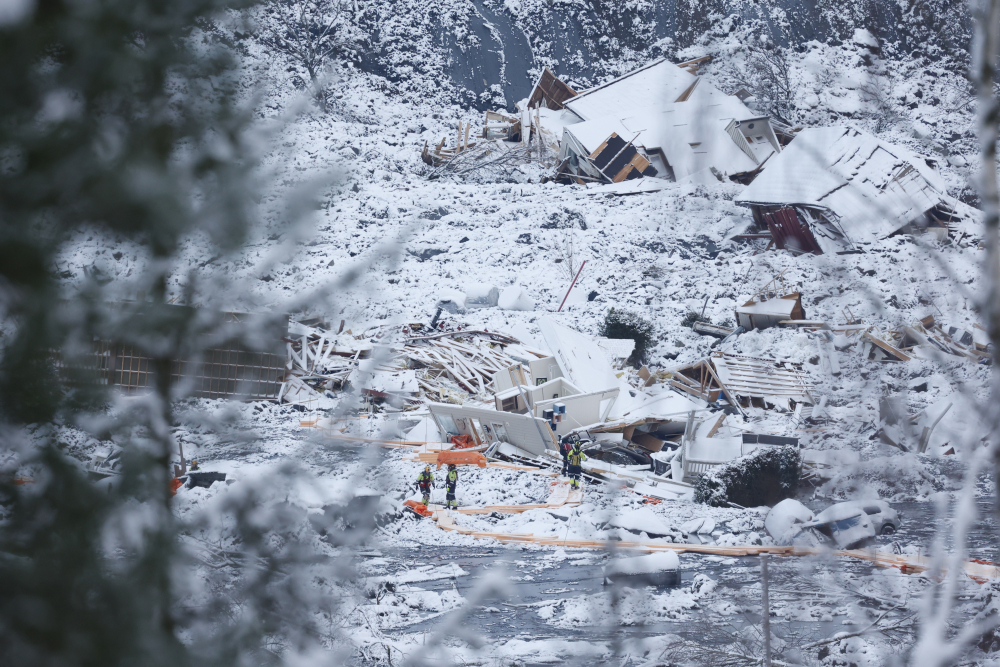 Rescue crews work in the area at Ask in Gjerdrum on Saturday after a massive landslide smashed into a residential area near the Norwegian capital on Wednesday.