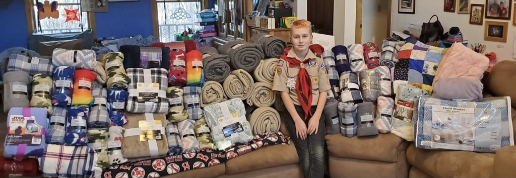 Owen Riddle of Sidney, a member of Boy Scout Troop 428 in Pittsfield, collected a total of 120 blankets to give patrons at his local food pantry.