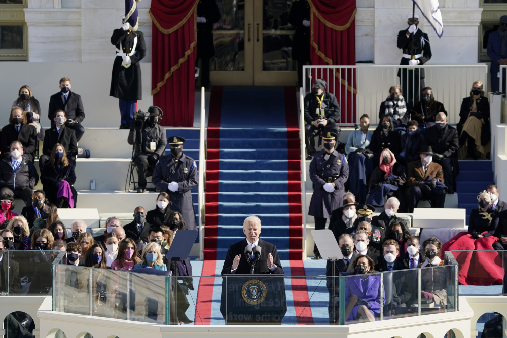 President Biden speaks during his inauguration at the U.S. Capitol in Washington on Wednesday.