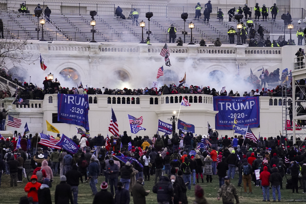 Violent rioters, loyal to President Trump, storm the Capitol Jan. 6 in Washington.