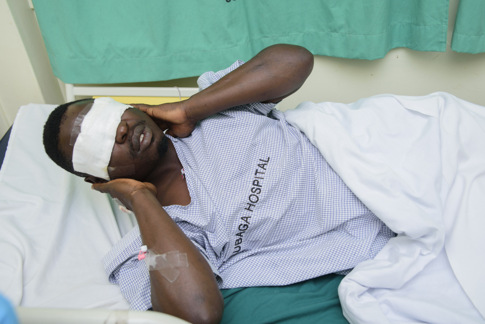 Mityana Municipality politician Zaake Francis, a close ally of opposition leader Bobi Wine, lies in Rubaga hospital in Kampala, Uganda, on Sunday after he was allegedly beaten by security personnel at the gates of Bobi Wine's house on Saturday.
