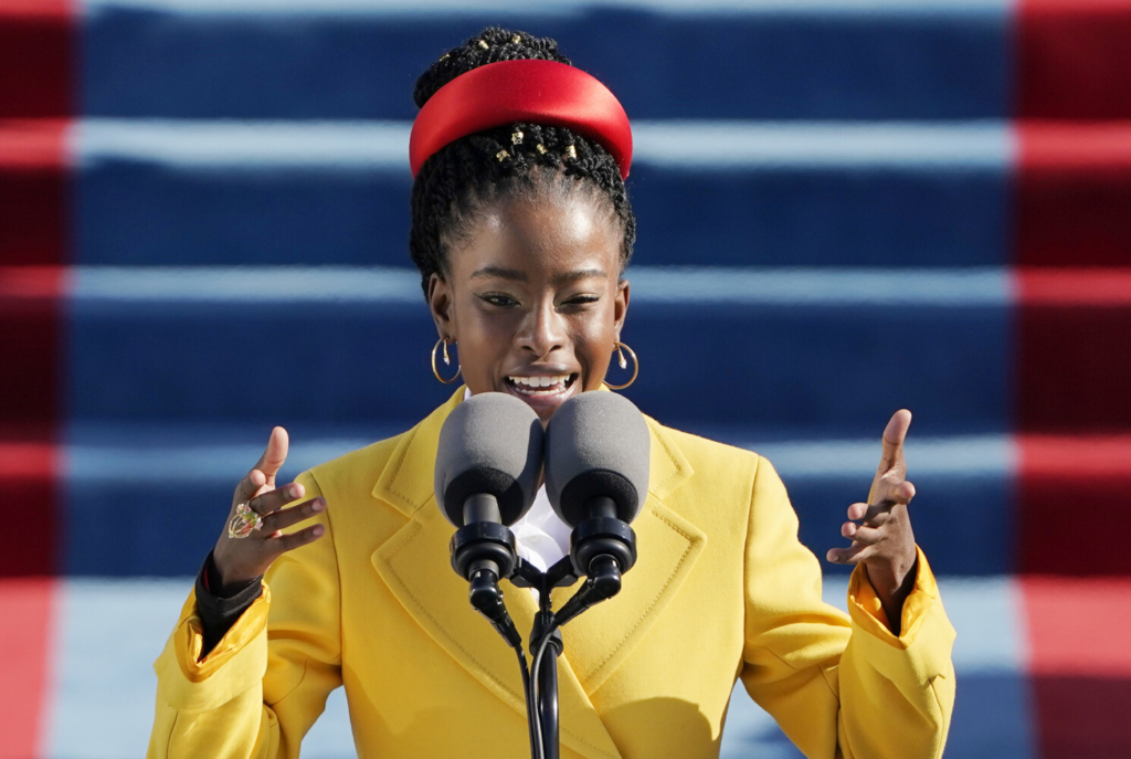 American poet Amanda Gorman reads a poem during the 59th Presidential Inauguration at the U.S. Capitol on Wednesday.
