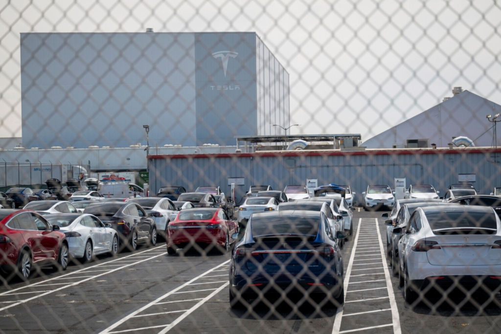 Tesla vehicles at the assembly plant in Fremont, Calif.