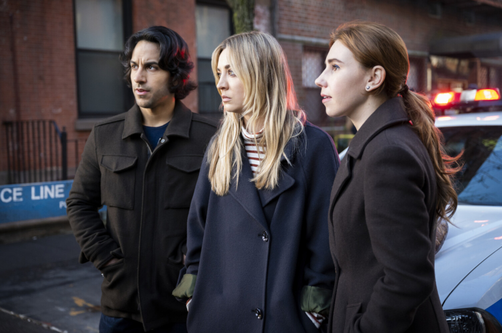 """In a scene from """"The Flight Attendant,"""" from left, are Deniz Akdeniz, Kaley Cuoco and Zosia Mamet."""