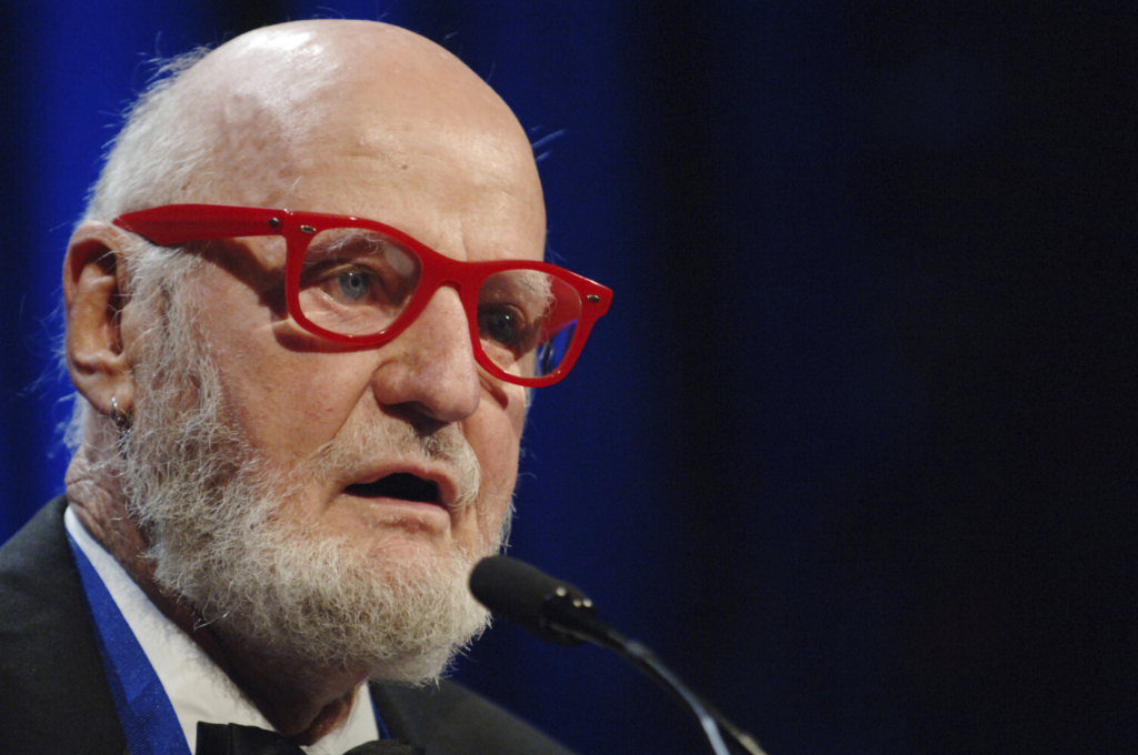 Author Lawrence Ferlinghetti reads a poem after he was awarded the Literarian Award for Outstanding Service to the American Literary Community at the National Book Awards in New York in 2005.