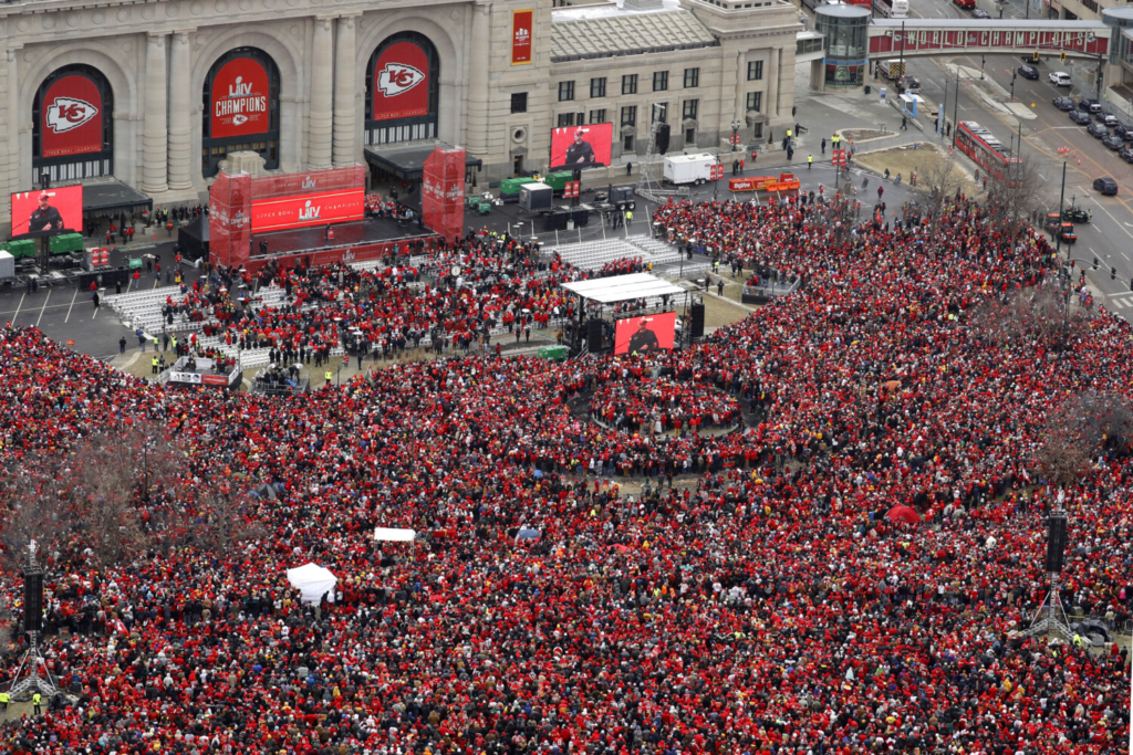 Fans gathered for a rally in front of Union Station after a parade through downtown Kansas City, Missouri, on Feb. 5, 2020.