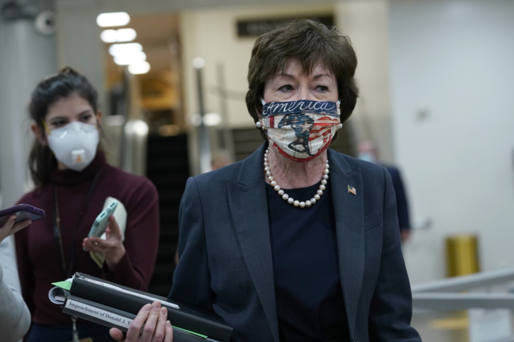 Sen. Susan Collins, R-Maine, leaves after the first day of the impeachment trial of former President Trump on Capitol on Feb. 9.