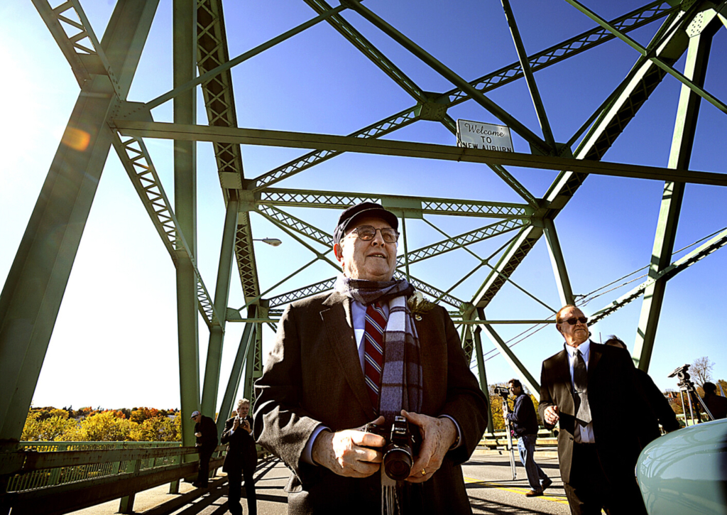 Dr. Bernard Lown walks on the bridge renamed in his honor in 2008 in Lewiston. Lown was a Massachusetts cardiologist who invented the first reliable heart defibrillator and later co-founded an anti-nuclear war group that was awarded a Nobel Peace Prize. He died in February at age 99.