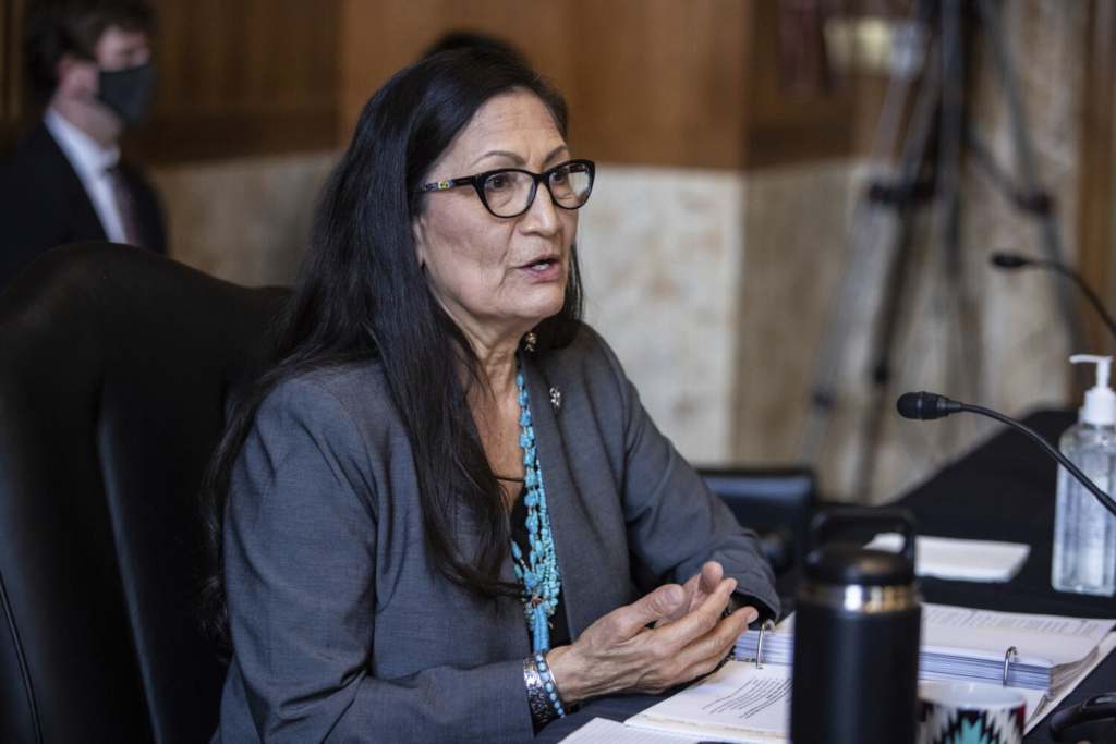 Rep. Deb Haaland, D-N.M., speaks during a Senate Committee on Energy and Natural Resources hearing on her nomination to be Interior Secretary, on Tuesday on Capitol Hill in Washington.