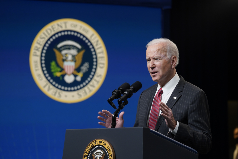 President Biden speaks about his administration's response to the coup in Myanmar at the White House on Wednesday in Washington.