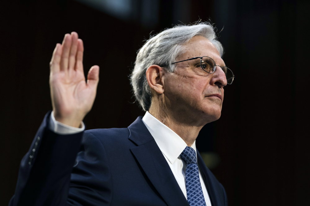 Judge Merrick Garland, nominee to be Attorney General, testifies at his confirmation hearing before the Senate Judiciary Committee, Monday, Feb. 22 on Capitol Hill in Washington.