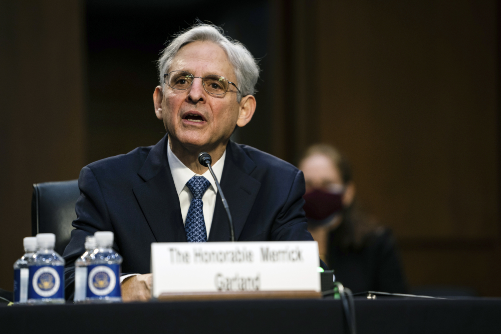 Judge Merrick Garland, nominee to be attorney general, testifies at his confirmation hearing before the Senate Judiciary Committee on Monday on Capitol Hill in Washington.