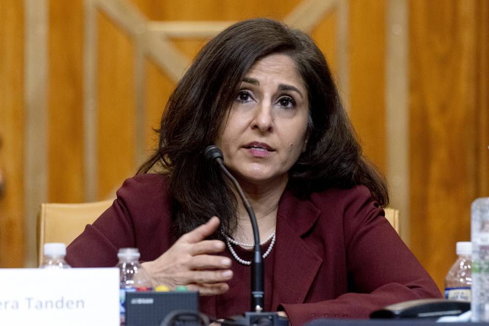 Neera Tanden, shown last month, has withdrawn her name from nomination as President Biden's director of the Office of Management and Budget.