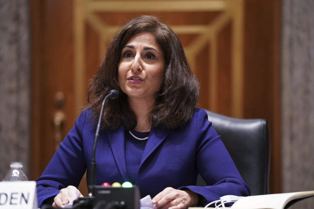 Neera Tanden testifies before the Senate Homeland Security and Government Affairs Committee on her nomination to become director of the Office of Management and Budget, during a hearing Feb. 9 on Capitol Hill.
