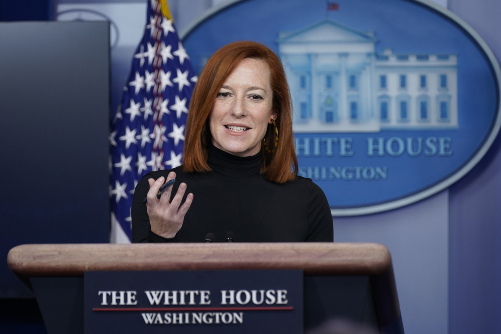 White House press secretary Jen Psaki speaks during a news briefing at the White House on Wednesday in Washington. Even as President Biden gathers with senators and works the phones to push for a giant COVID-19 relief package, his team is increasingly focused on selling the plan directly to voters.