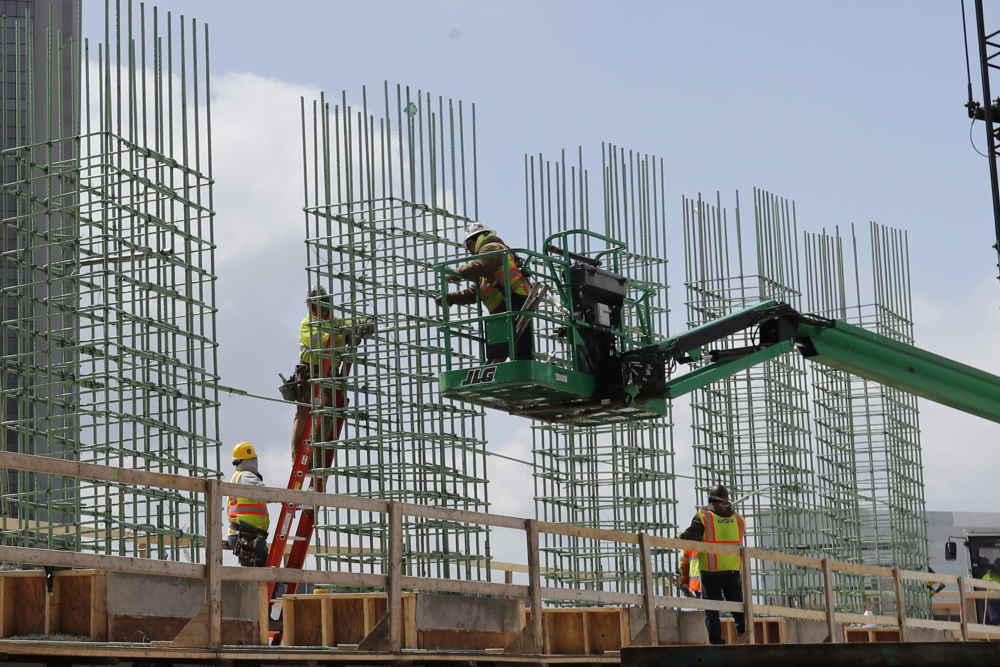 Work continues on a bridge on the Interstate Highway 75 project on April 16 in Troy, Mich.