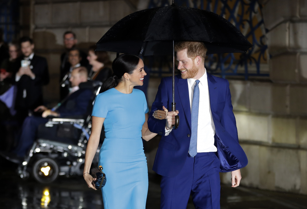 Britain's Prince Harry and Meghan arrive at the annual Endeavour Fund Awards in London on  March 5.