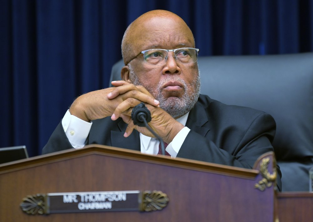 Committee Chairman Rep. Bennie Thompson, D-Miss., speaks during a House Committee on Homeland Security hearing on 'worldwide threats to the homeland', on Capitol Hill Washington in September 2020. Thompson has sued former President Donald Trump, alleging Trump incited the deadly insurrection at the U.S. Capitol. The lawsuit in Washington's federal court alleges the Republican former president conspired with members of far-right extremist groups to prevent the Senate from certifying the results of the presidential election he lost to Joe Biden. The suit also names as defendants Trump's personal lawyer Rudy Giuliani and groups including the Proud Boys and the Oath Keepers, both of which had members alleged to have taken part in the siege.