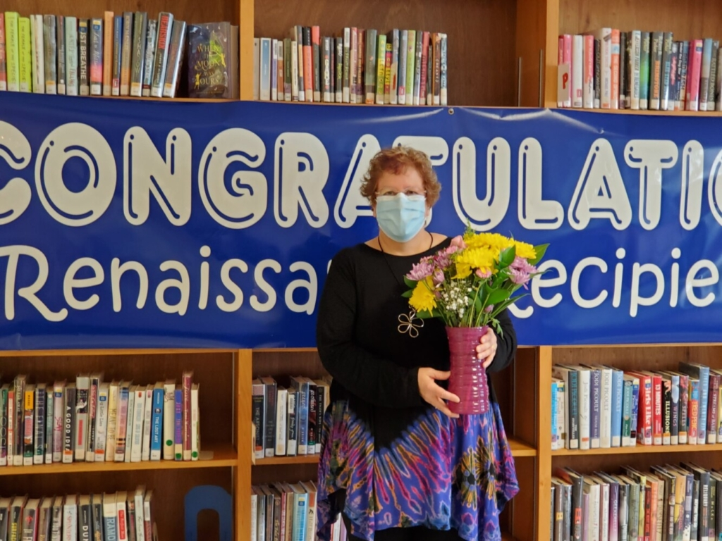 Crystal Shamus-Douglas is the recipient of the Walter J. Taranko School Librarian Award for 2020, presented by the Maine Association of School Libraries.