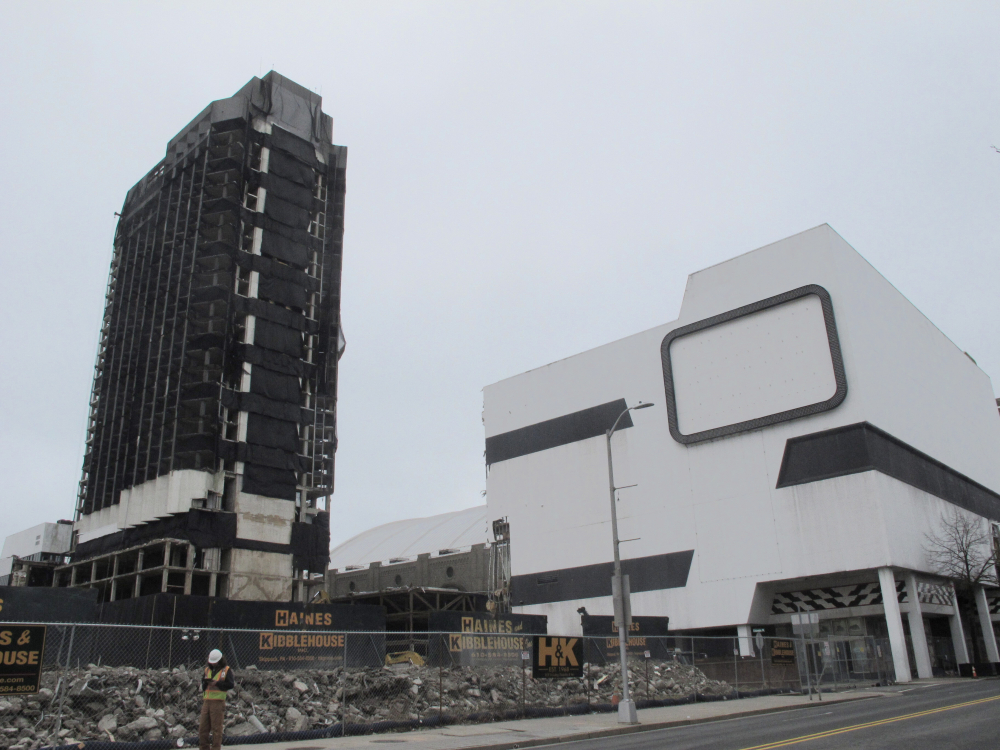 The former Trump Plaza casino in Atlantic City, N.J. on Tuesday, the day before its main tower, left, was to be imploded.