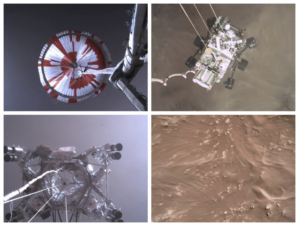 This combination of images from video made available by NASA shows steps in the descent of the Mars Perseverance rover as it approaches the surface of the planet on Thursday.