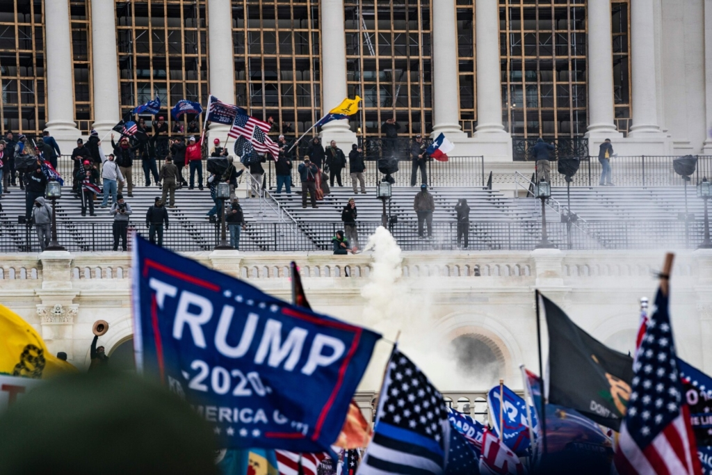 Supporters of President Donald Trump clash with the U.S. Capitol police during the riot at the U.S. Capitol on Jan. 6, 2021.