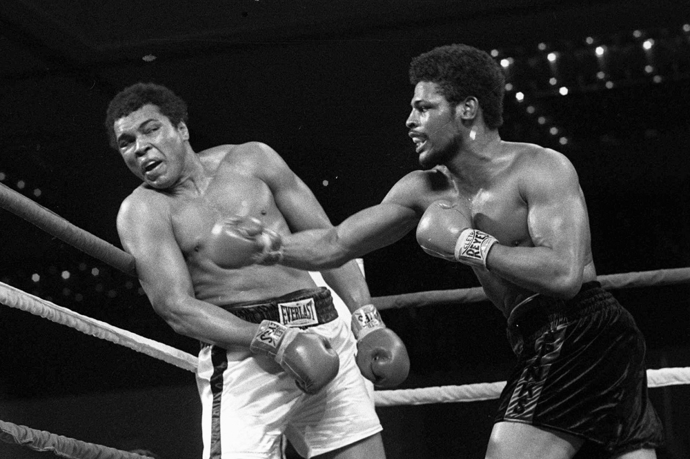 Leon Spinks, right, connects with a right hook to Muhammad Ali, during the late rounds of their championship fight in Las Vegas in 1978.
