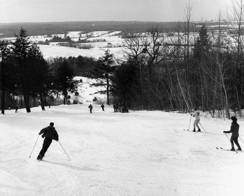 Alpine skiing was popular many years ago on the hill off upper Main Street in Waterville, as seen in this circa-1950s photo from Colby College archives.