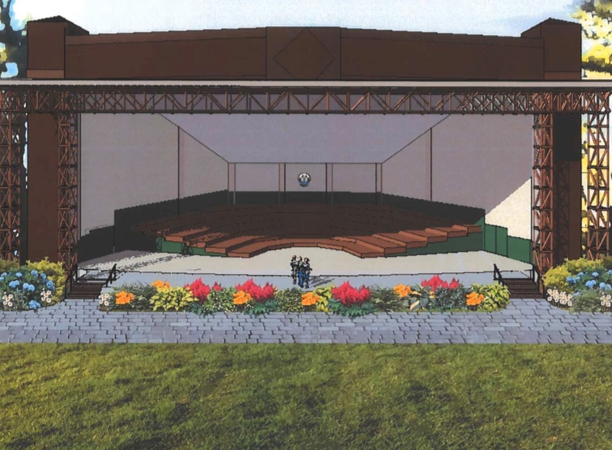 An artist's rendering shows what a $1 million renovation project would look like for the Bowl in the Pines Amphitheater at the Snow Pond Center for the Arts in Sidney.