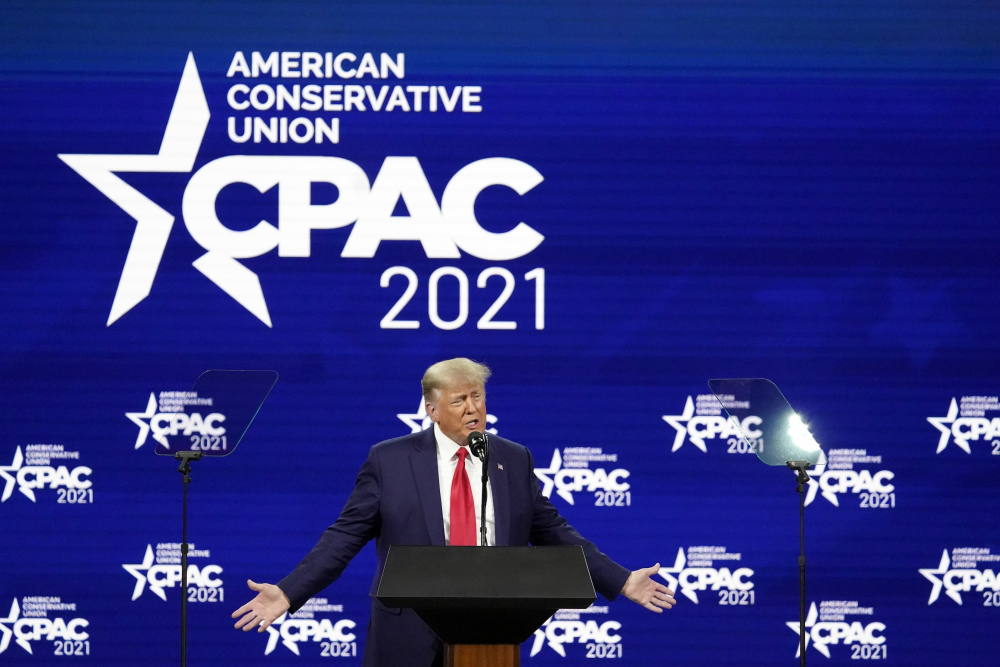 Former President Donald Trump speaks at the Conservative Political Action Conference on Sunday in Orlando, Fla.