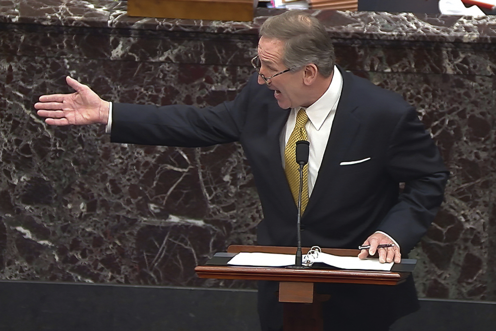 In this image from video, Michael van der Veen, an attorney for former President Donald Trump, speaks during the second impeachment trial of Trump in the Senate at the U.S. Capitol in Washington, Friday, Feb. 12.