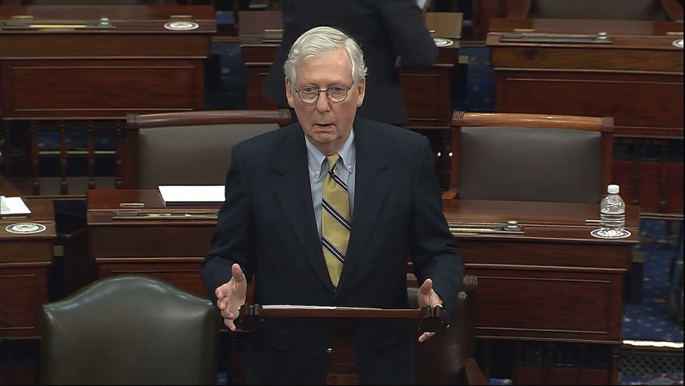 In this image from video, Senate Minority Leader Mitch McConnell of Kentucky speaks after the Senate acquitted former President Trump in his second impeachment trial in the Senate at the U.S. Capitol in Washington, on Saturday. Trump hurled insults at McConnell on Tuesday.
