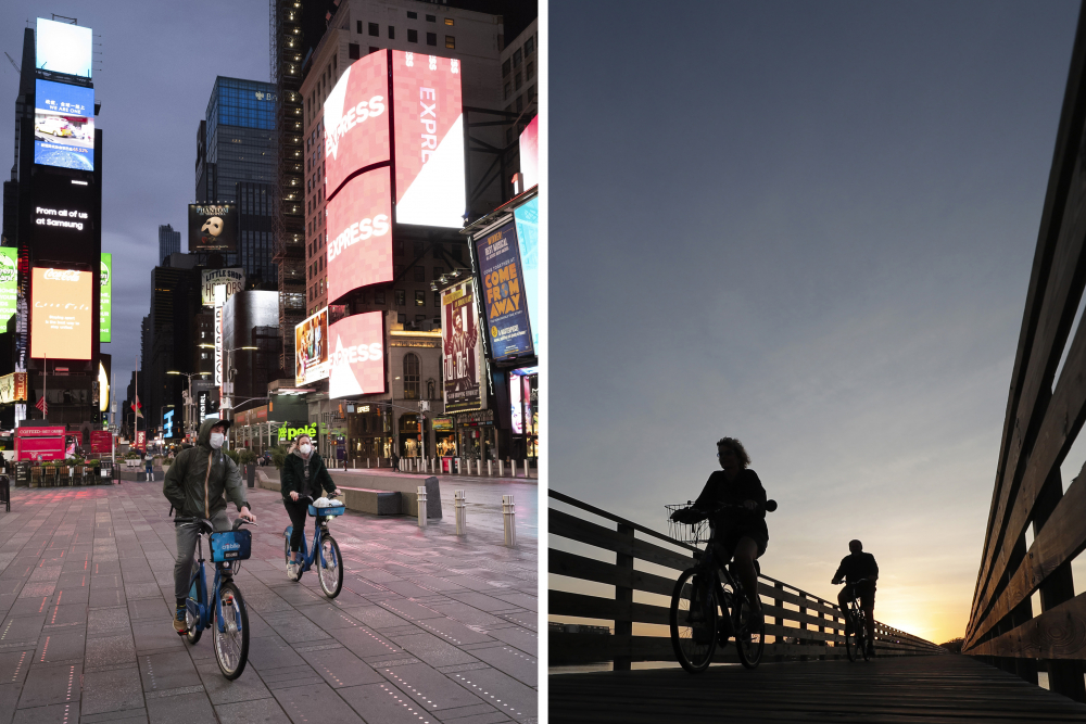 This combination of photos shows people riding bicycles in New York's Times Square, left, on April 29 and in Gulf State Park in Gulf Shores, Ala., on March 12.
