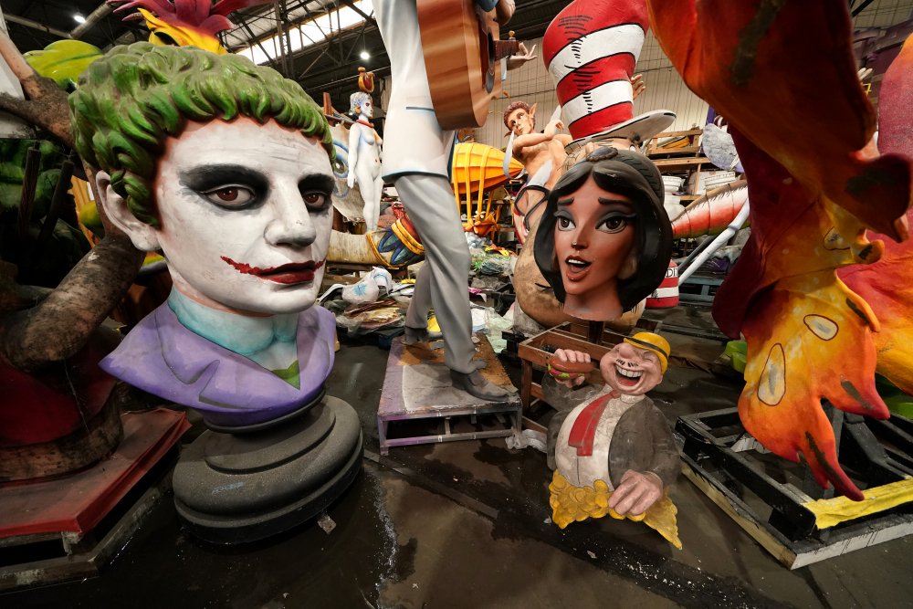 Parts of Mardi Gras floats created by Kern Studios sit stored inside Mardi Gras World in New Orleans, Friday. New Orleans' annual pre-Lenten Mardi Gras celebration is muted this year because of the coronavirus pandemic.