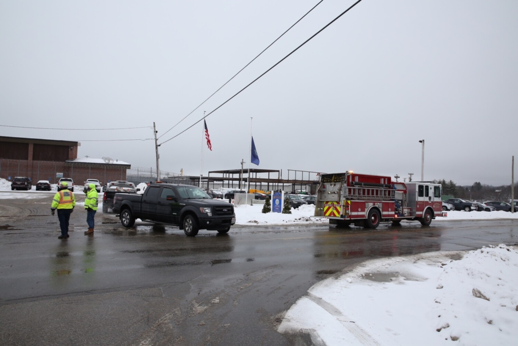 Emergency crews gather outside the Maine Correctional Center in Windham on Friday.