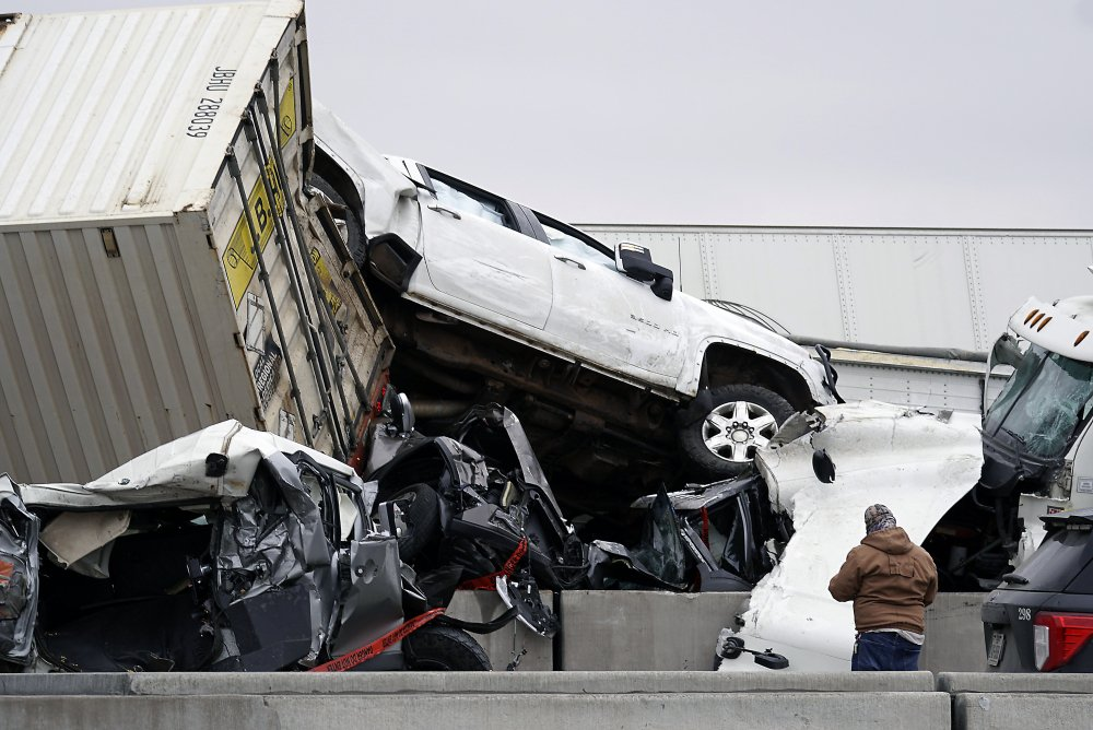 Vehicles are piled up after a fatal crash on Interstate 35 near Fort Worth, Texas, on Thursday.