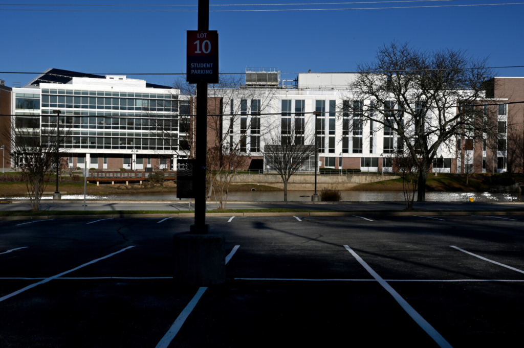Montgomery College campus in Rockville, Md., is eerily quiet due to the coronavirus pandemic on Dec. 2, 2020.