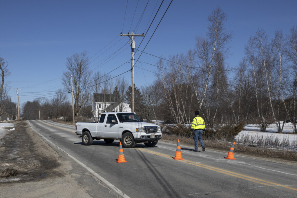 An emergency vehicle blocks off Long Plains Road on Thursday, March 4. Buxton police have closed a section of Long Plains Road as they deal with a public safety incident Thursday morning.