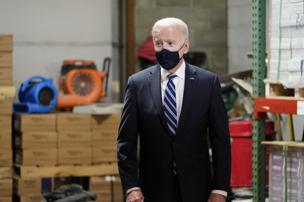President Biden visits Smith Flooring Inc. in Chester, Pa., on Tuesday.