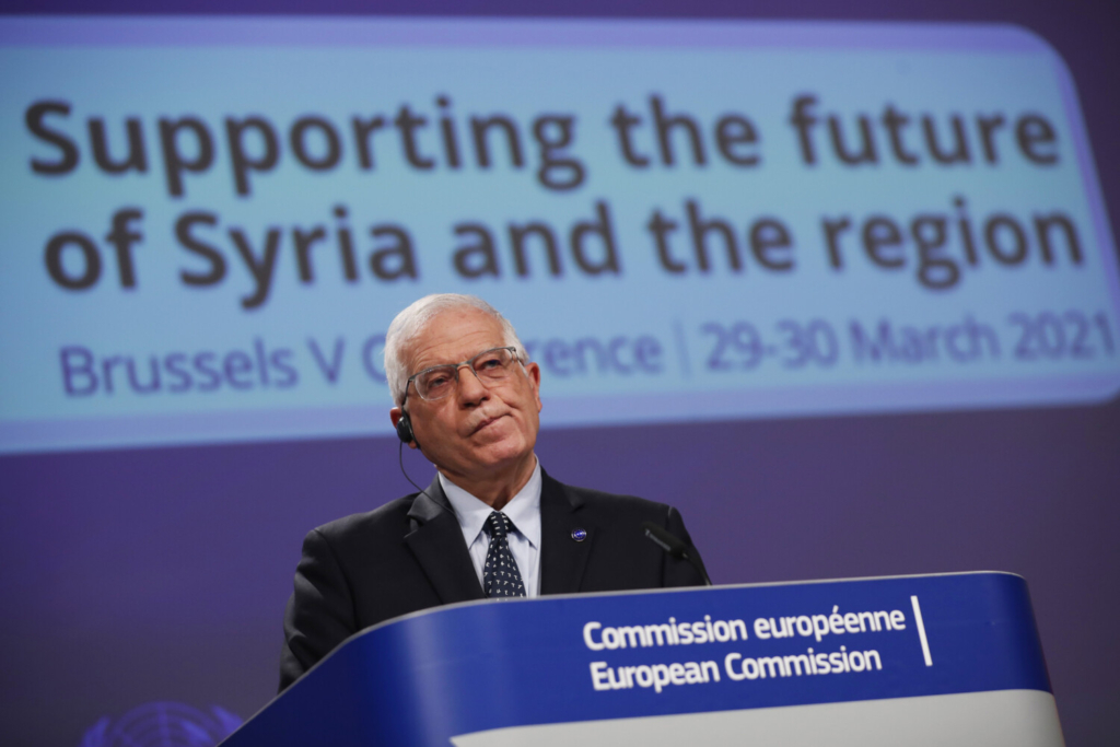 "European Union foreign policy chief Josep Borrell listens to a question during an online joint news conference with UN Under-Secretary General for Humanitarian Affairs and Emergency Relief Coordinator Mark Lowcock at the conclusion of a conference ""Supporting the future of Syria and the region"" at the European Commission headquarters in Brussels on Tuesday."