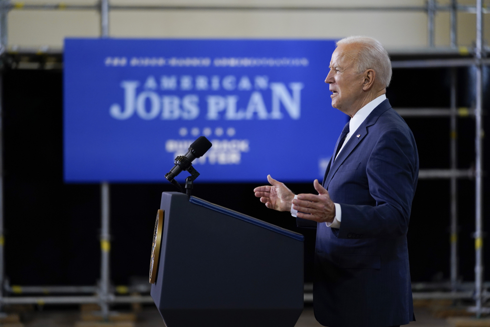 President Joe Biden delivers a speech on infrastructure spending at Carpenters Pittsburgh Training Center on Wednesday in Pittsburgh.